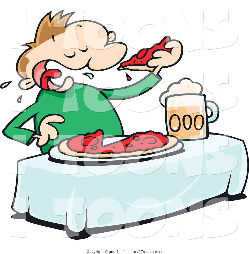 1024x1044 Vector Clip Art Of A Man Eating A Whole Pizza Pie By Gnurf