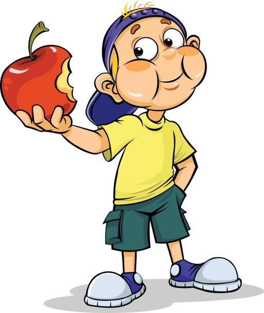 515x612 Boy Eating Apple Clipart