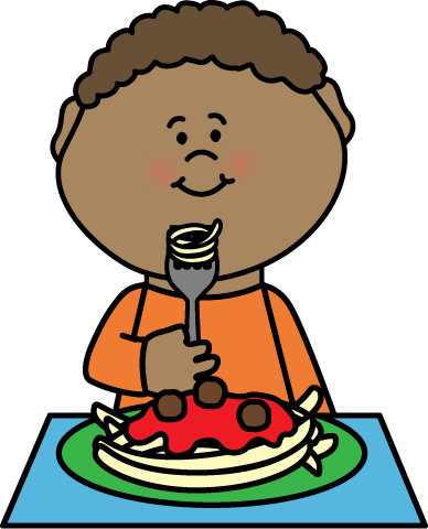 388x480 Boy Eating Spaghetti Clip Art
