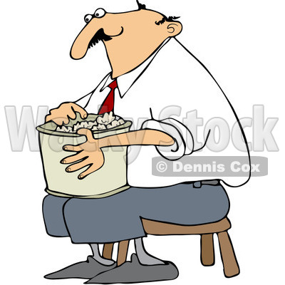 400x400 Free Vector Clip Art Illustration Of A Man Sitting On A Stool