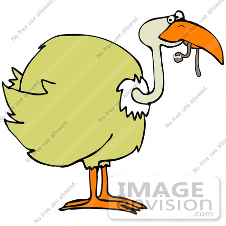 450x450 Clip Art Graphic Of A Yellow Bird Eating A Worm