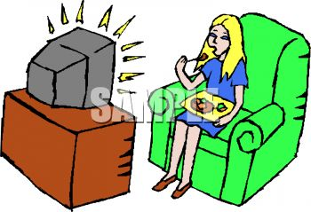 350x239 Woman Eating A Frozen Dinner In Front Of The Television