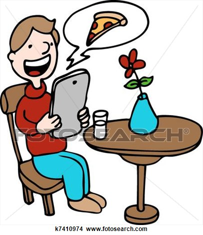 406x470 Eating In A Restaurant Clipart