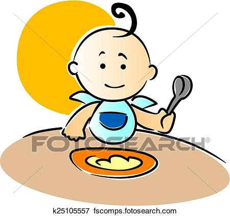 450x423 Clip Art Of Cute Little Baby Sitting Eating Food K25105557