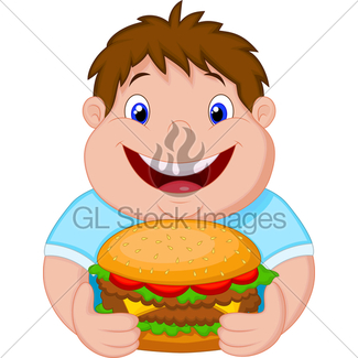 325x325 Cartoon Of Boy About To Eat Junk Food Gl Stock Images