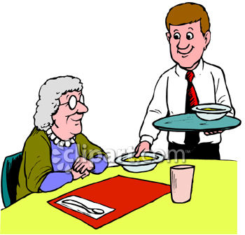 350x336 Old Woman Eating In A Restaurant Clipart