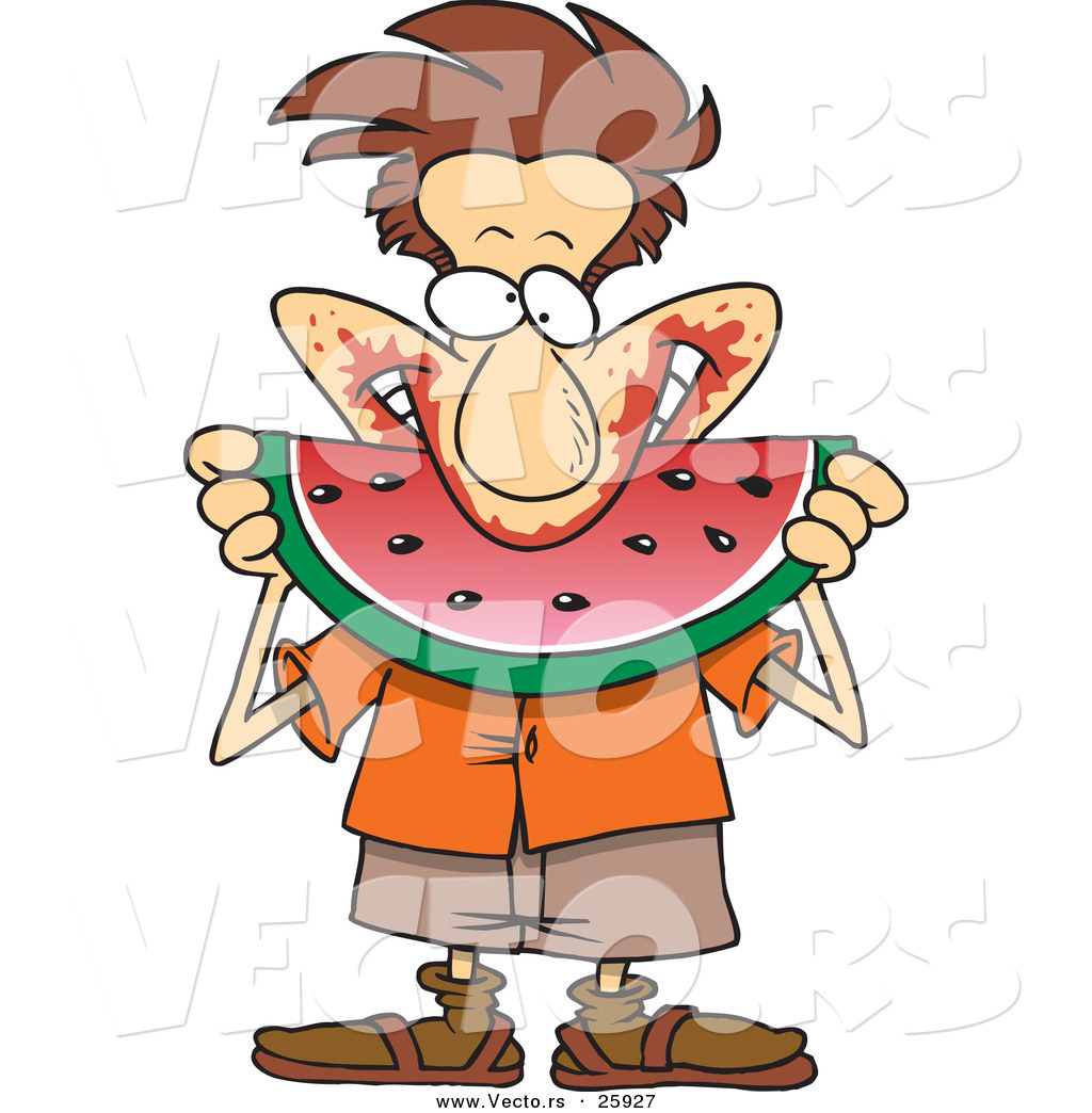 1024x1044 Vector Of A Happy Cartoon Man Pigging Out On Watermelon By