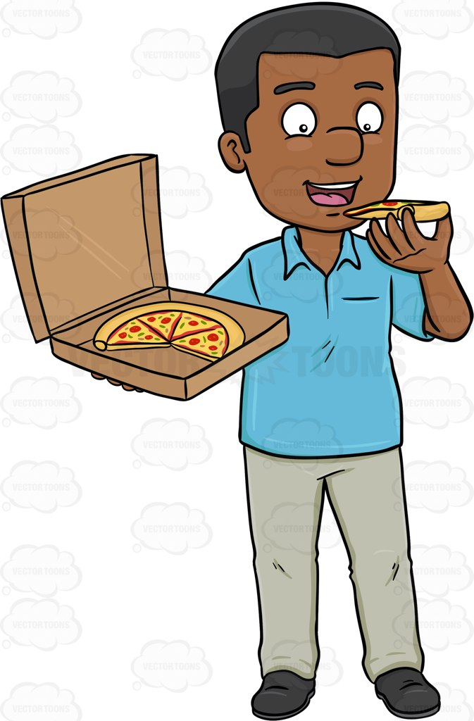 673x1024 A Dark Haired Man Savoring A Box Of Pizza Cartoon Clipart