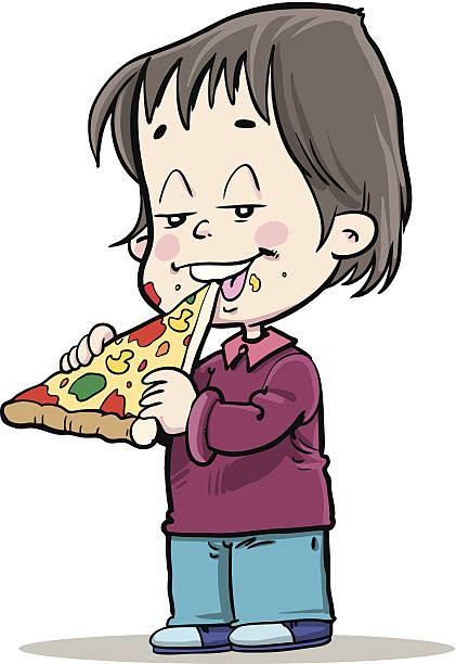 421x612 Boy Eating Pizza Clipart