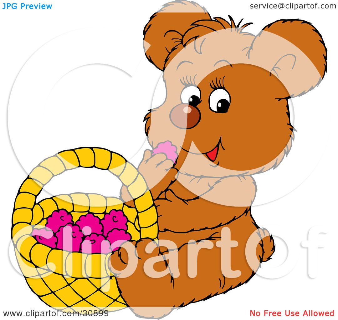 1080x1024 Clipart Illustration Of A Cute Little Brown Bear Eating Healthy