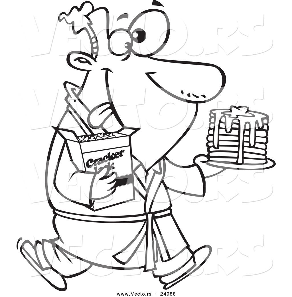 1024x1044 Vector Of Cartoon Man Eating Pancakesnd Cracker Jacks