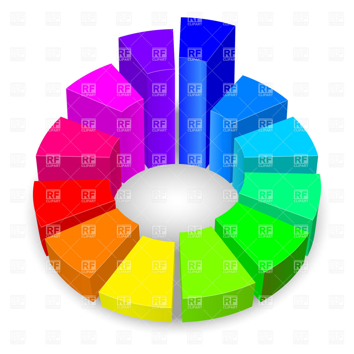 1200x1200 Circular Diagram With Columns In Rainbow Colors Royalty Free