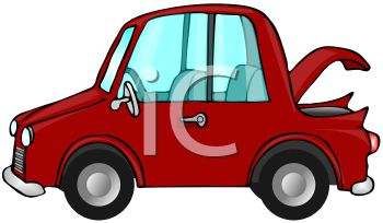 350x204 Clip Art Image Of A Red Economy Car With The Trunk Lid Open