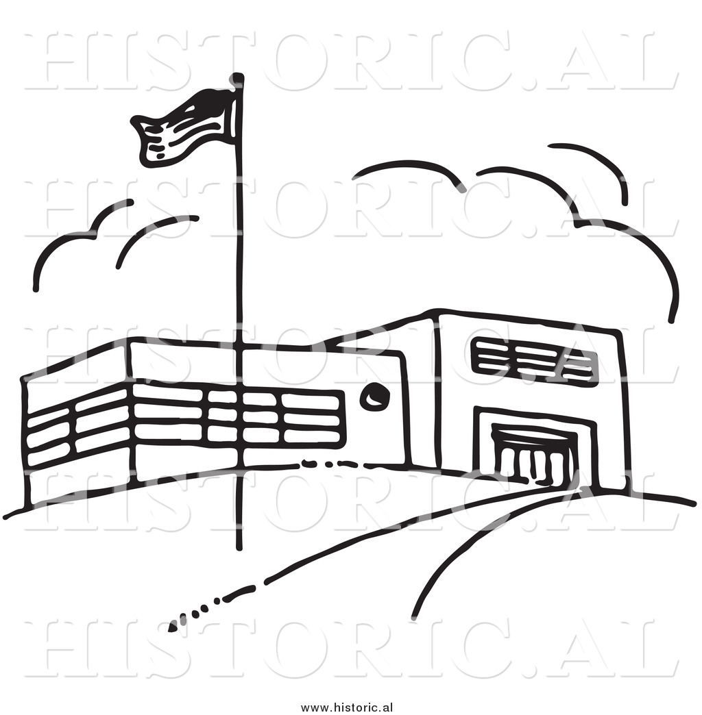 1024x1044 Clipart Of An American Flag Beside School Building