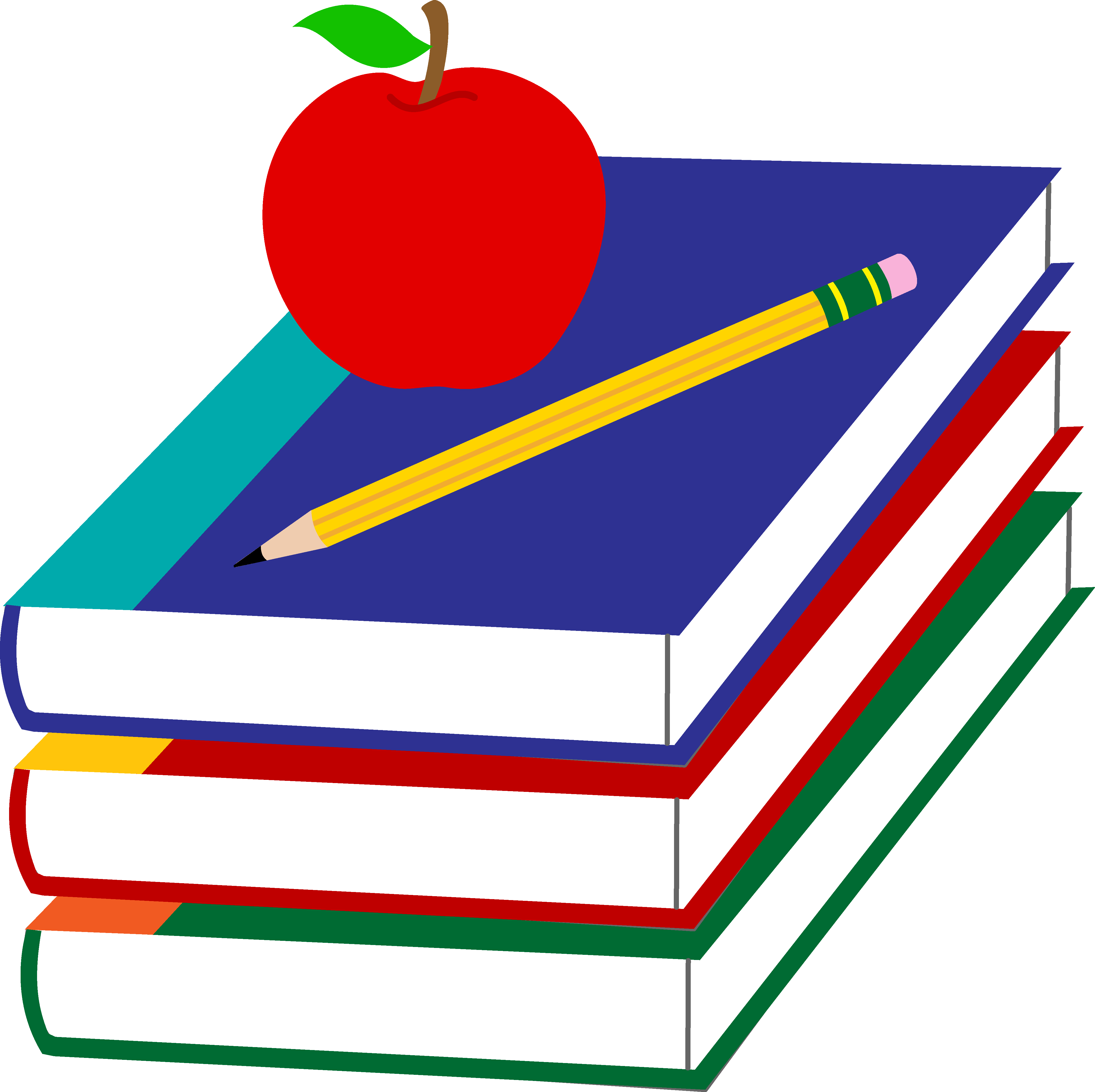4461x4450 School Books With Apple And Pencil