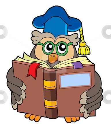 385x450 Owl Teacher Reading Book Stock Vector Clipart, Owl Teacher Reading