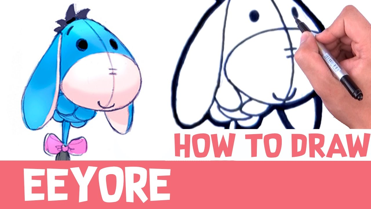 1280x720 How To Draw Eeyore Step By Step Drawings Winnie The Pooh Easy