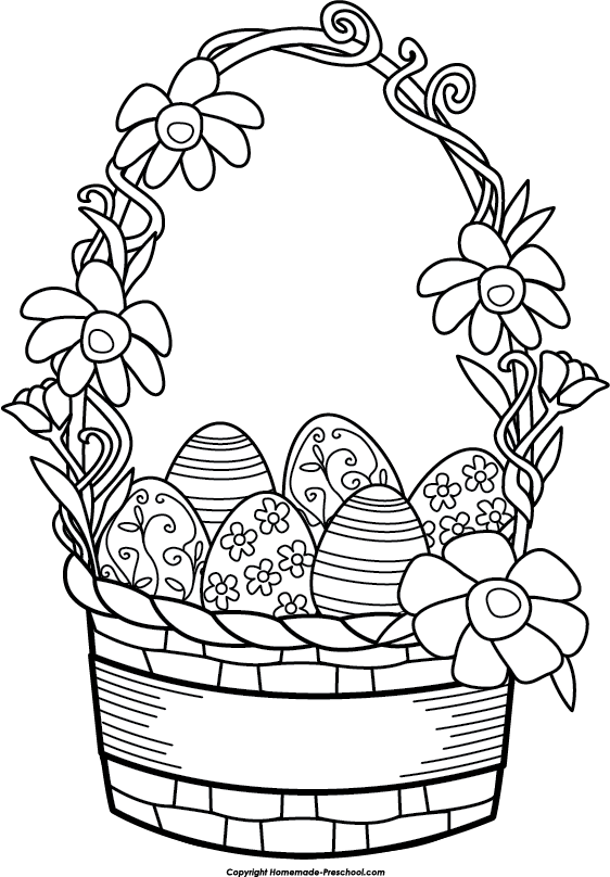 562x808 Easter Basket Clip Art Black And White Happy Easter 2017