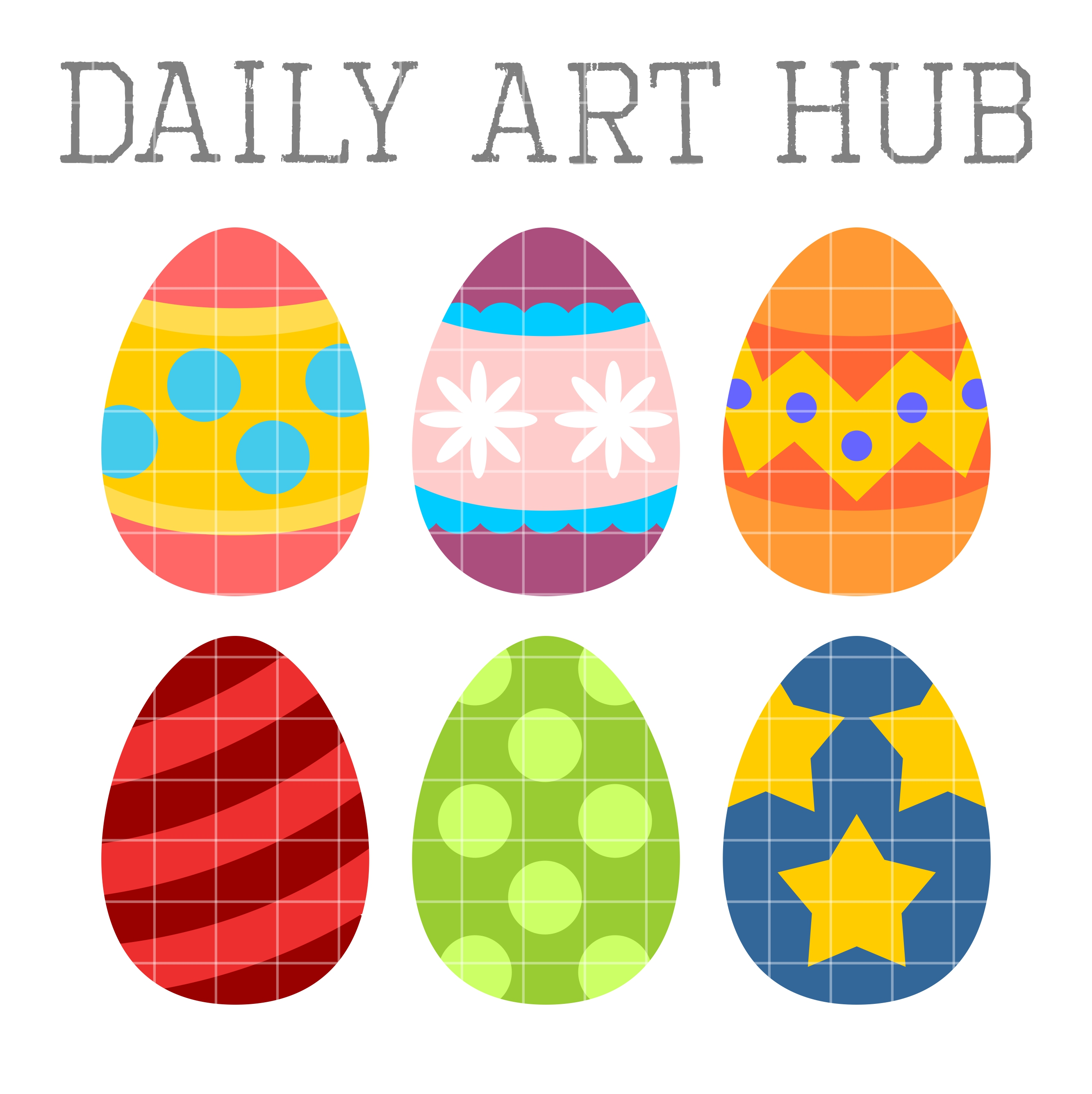 2664x2670 Cute Easter Eggs Clip Art Set Daily Art Hub