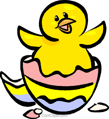 440x480 Easter Egg Hatching Royalty Free Vector Clip Art Illustration