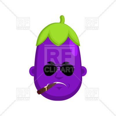 400x400 Cartoon Serious Eggplant With Cigar Royalty Free Vector Clip Art