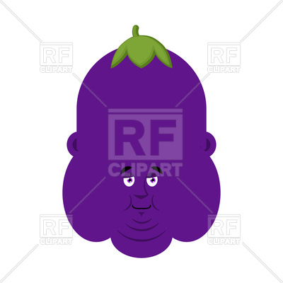 400x400 Fat Eggplant With Face Royalty Free Vector Clip Art Image