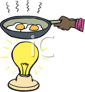 279x300 Art Image A Hand Cooking Eggs In A Frying Pan Over A Light Bulb