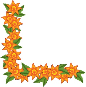 296x300 Latest Orange Tropical Flowers Page Border Design Sadiakomal