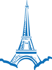 222x297 Blue Eiffel Tower Silhouette Clip Art