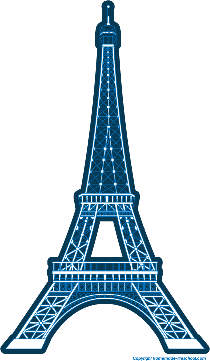 418x718 Blue Simple Eiffel Tower Clipart
