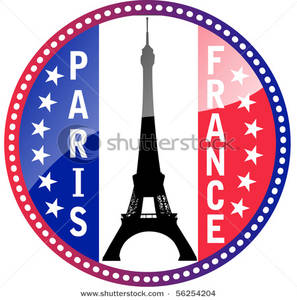 297x300 Flag Of France And Eiffel Tower Glossy Vector Button Clipart Picture
