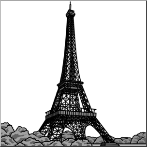 304x304 Clip Art Eiffel Tower Grayscale I Abcteach