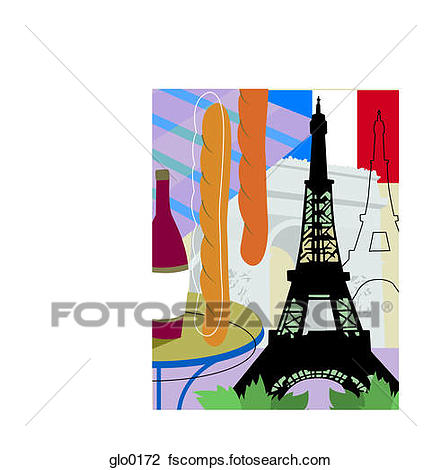 441x470 Clip Art Of A Collage Of Paris With The Eiffel Tower, Baguettes