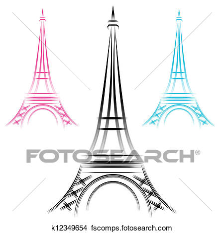 450x470 Clipart Of Abstract Eiffel Tower K12349654
