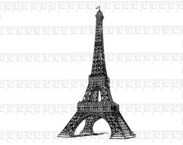 630x500 Eiffel Tower French Paris Monument Antique Victorian Vintage Clip
