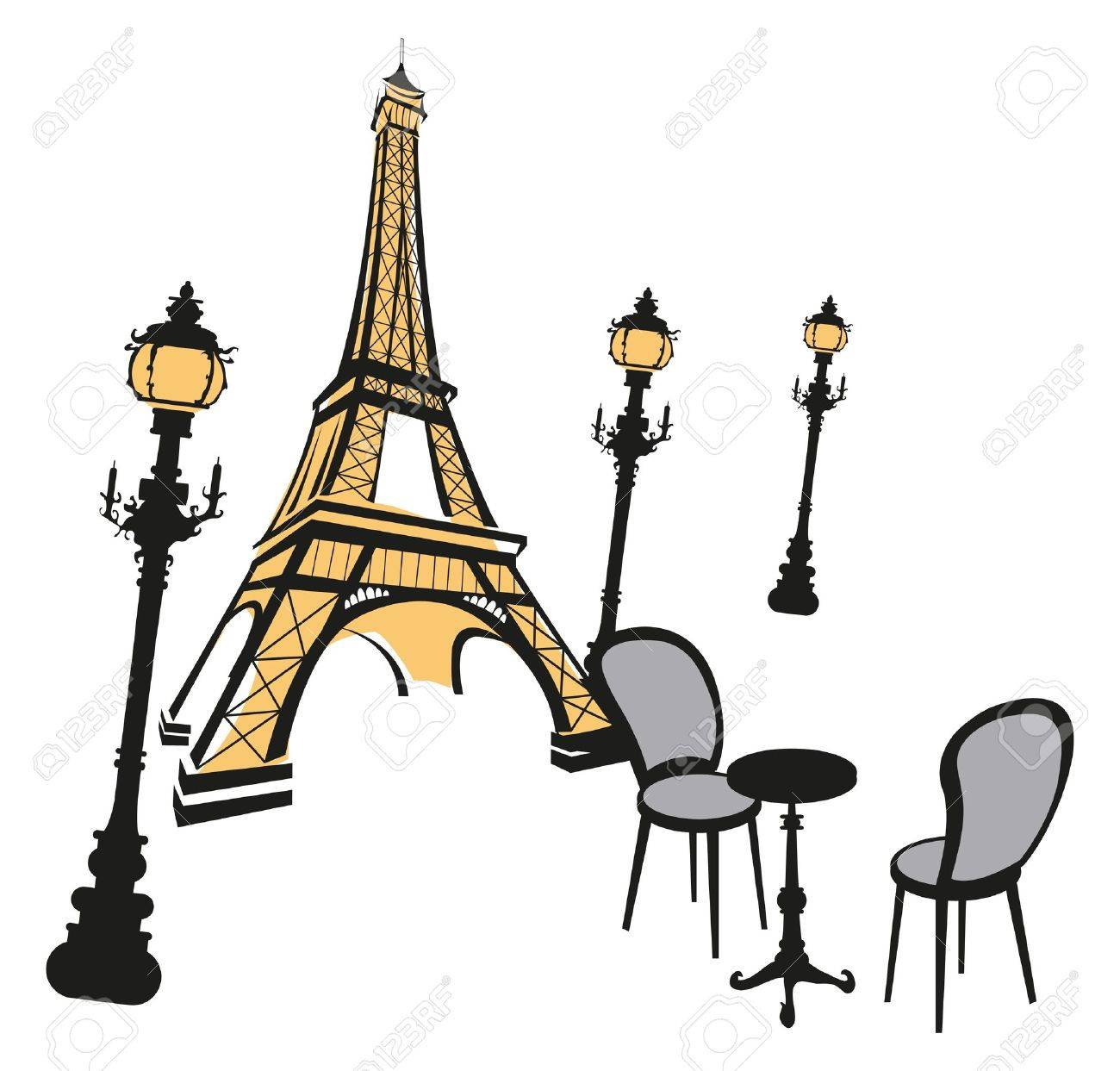 1300x1243 Eiffel Tower Sketch With Street Lights On White Royalty Free