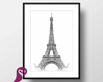 340x270 Eiffel Tower Sketch Etsy