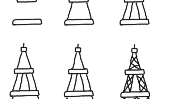 570x320 Simple Drawing Eiffel Tower Eiffel Tower Drawing Simple Clipart