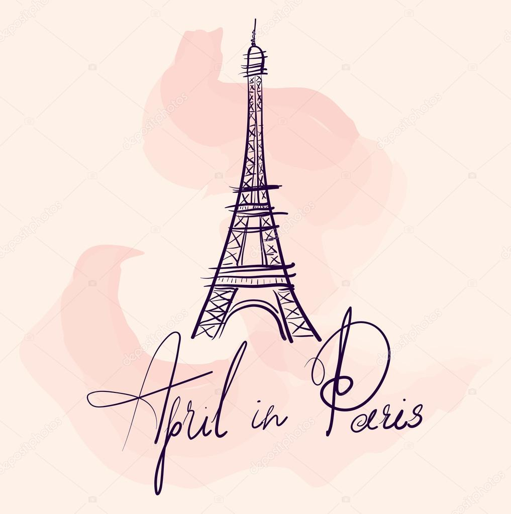 1017x1023 Hand Drawn Eiffel Tower Stock Vector Molesko