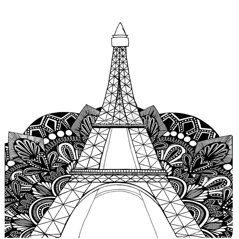 800x800 Eiffel Tower Mandala Throw Pillows By Carina Kay Redbubble