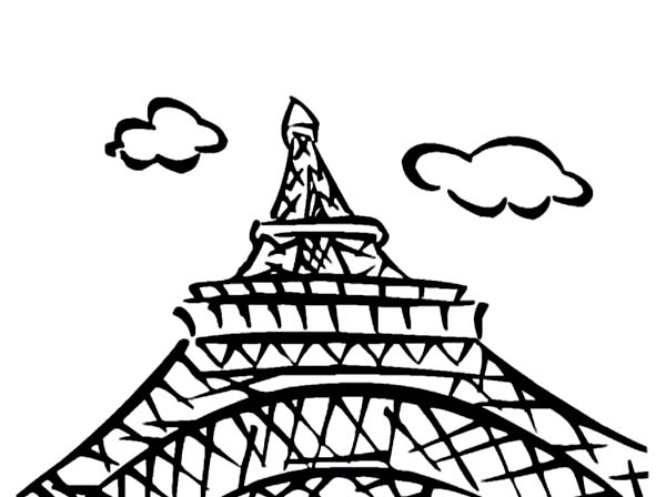 600x448 Eiffel Tower View From Downside Coloring Page