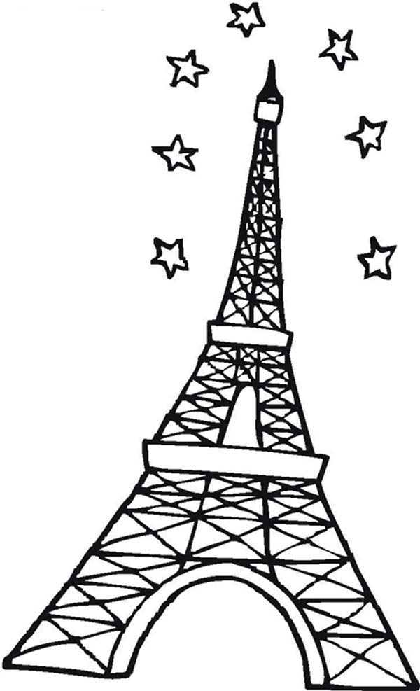 600x987 Eiffel Tower Clipart Coloring Page