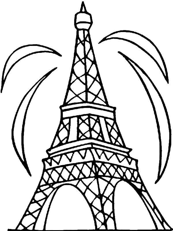 600x800 Fireworks And Eiffel Tower Coloring Page