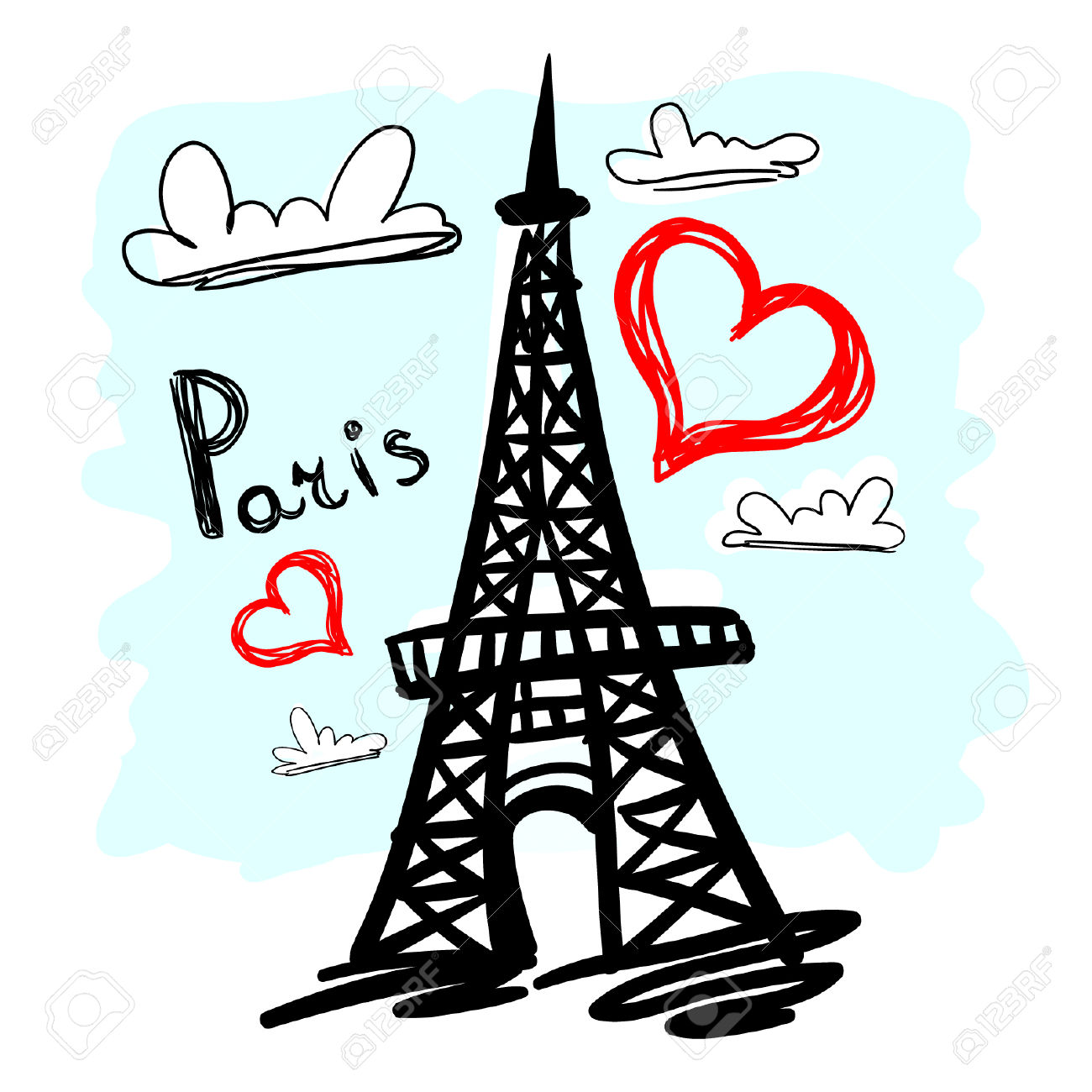 1300x1300 Hand Drawin Eiffel Tower Clipart, Explore Pictures