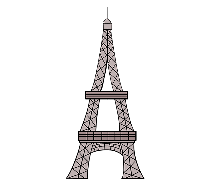 678x600 How To Draw The Eiffel Tower In A Few Easy Steps Easy Drawing Guides