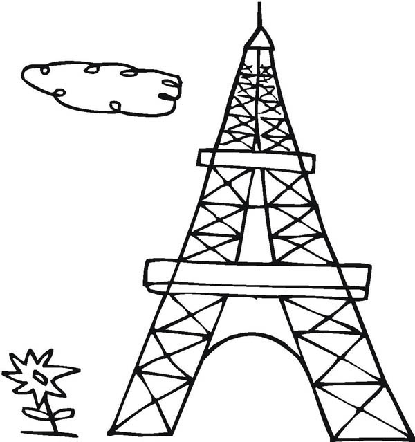 600x639 Drawing French Eiffel Tower Coloring Page Coloring Sky