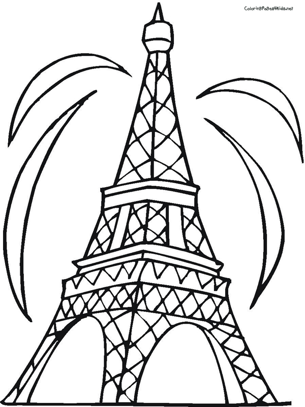 600x802 Eiffel Tower Coloring Page