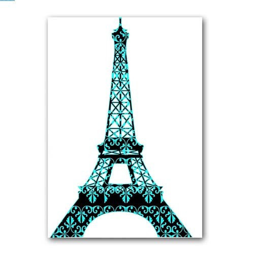 500x500 Floral Damask Eiffel Tower Fine Art Print Modern Decor Blue