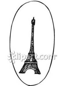 225x300 And White Line Drawing Of The Eiffel Tower Within An Oval Royalty