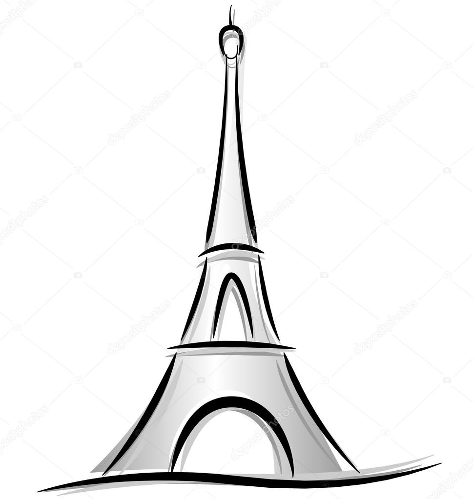 969x1023 Drawing Of Eiffel Tower Stock Vector Nickylarson